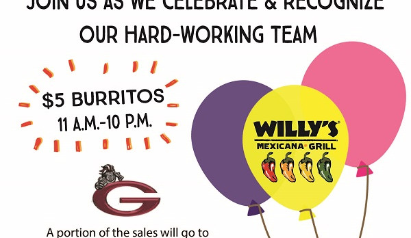 Dine-Out at Willy's on May 10th