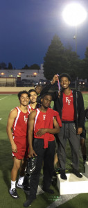 2017 4x400 meter team excited at the league meet. (L-R Gabe Estrada, Kaiyou Gonzales, Isaac Jones, Jomar Lopes)