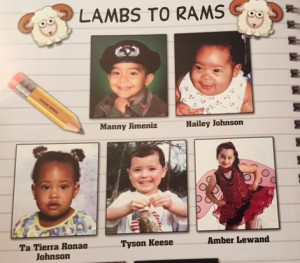 Example of Lambs to Rams page in Sports Program.