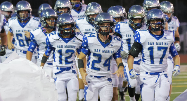 San Marino High School Varsity Football beat Bell Gardens High School 41-18