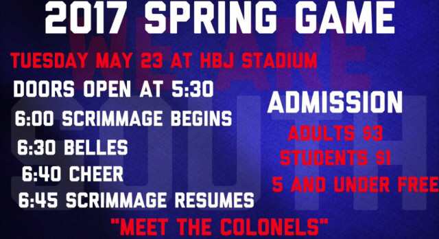 "Spring Football Game ""Meet the Colonels"" is tomorrow night"