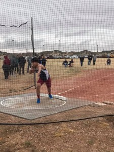 Angus Zong-Liscum throwing the Shot Put