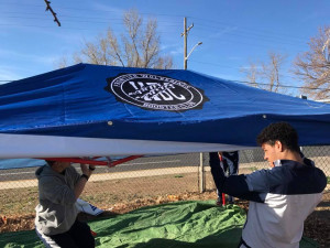 Setting up our new tent