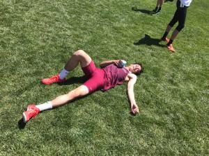 Gavin Spaur after running the 400 meter dash