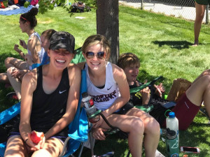 Molly Sears (left) and Emily Long (right) taking a much needed break