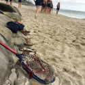 Varsity Girls Lacrosse at the beach for Pictures