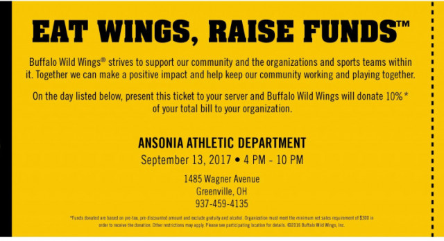 Come Support Ansonia Athletics at BW3 tonight