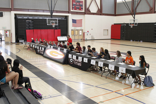 Gunn High Schools senior sports Athletics Signing Ceremony in Palo Alto, California, Monday, May 22, 2017.  (Photo by Paul Sakuma Photography) www.paulsakuma.com