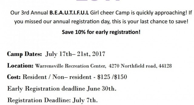 Beautiful Girl Cheer Camp!