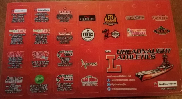 Dreadnaught Athletic Discount Cards ON SALE NOW!!!