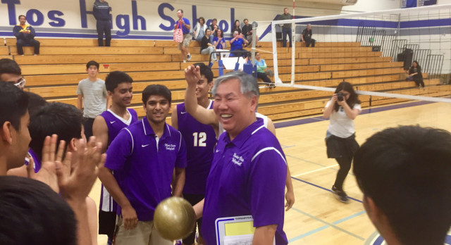 Boys Volleyball Coach, Paul Chiu, earns his 200th Career Win!