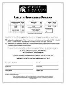 FORM - Athletic Sponsorship Program