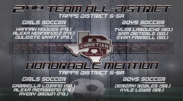 GIRLS/BOYS SOCCER: TAPPS SECOND TEAM/HONORABLE MENTION