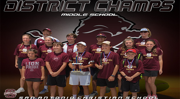 MIDDLE SCHOOL TENNIS – DISTRICT CHAMPS