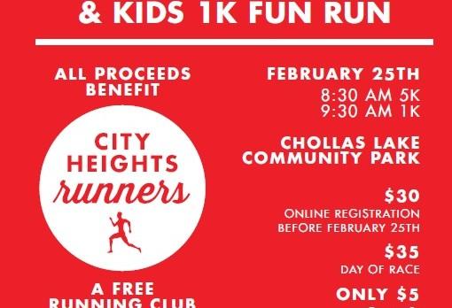 Saturday, February 25th , 8:30 & 9:30am – City Heights Runners 5K and 1K Kids Run @ Chollas Lake Community Park