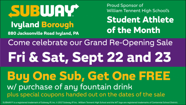 Subway Tennent AOTM Ad Grand Re-Opening Sale
