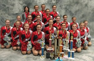 Pinckney Poms smiling for a team picture