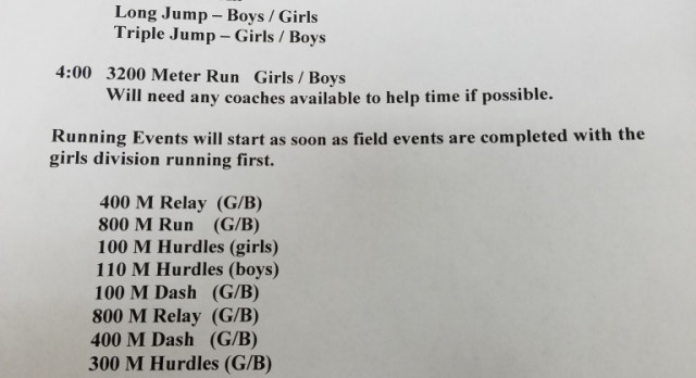 Schedule for Blanket Tiger Relays  3/9/2017