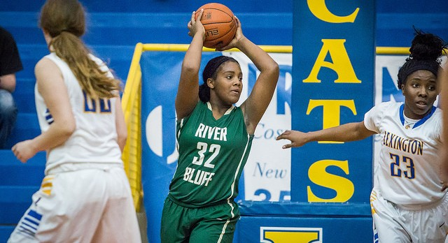 River Bluff High School Girls Varsity Basketball falls to White Knoll High School 35-56
