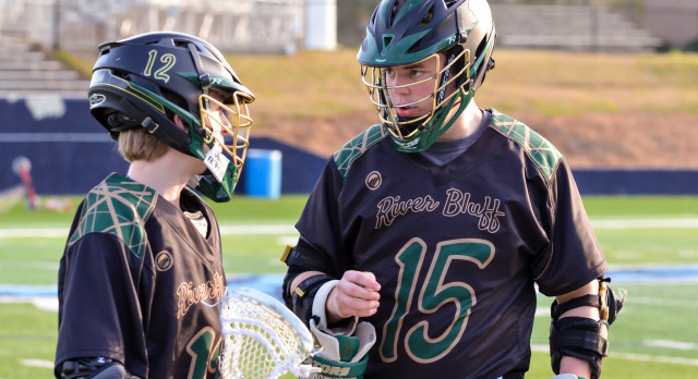 River Bluff High School Boys Varsity Lacrosse beat Irmo High School 9-6