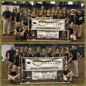 CMS 2017 State Archery Teams - HS Team won their 2nd state title (top) - MS Team placed 2nd just missing their third state title (bottom)