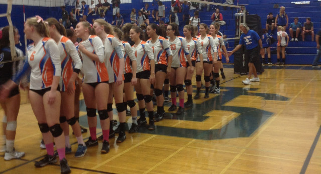 Clairemont High School Girls Varsity Volleyball beat San Diego High School 3-1