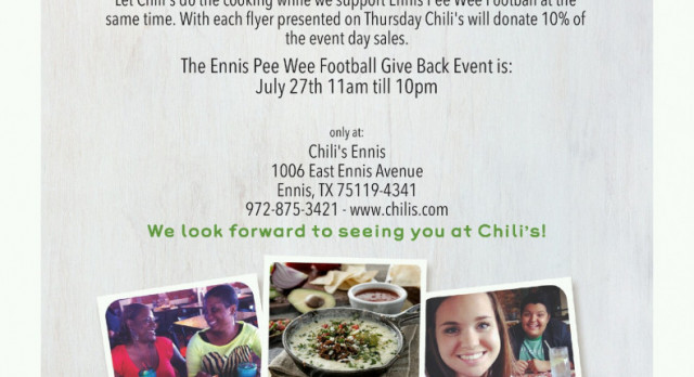 Go to Chili's Today, 7/27, to Support Ennis Pee-Wee Football