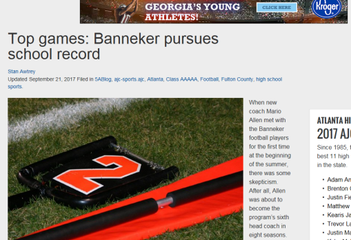 AJC Article on Banneker Football