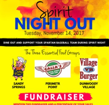 Spartan Baseball Spirit Night Out