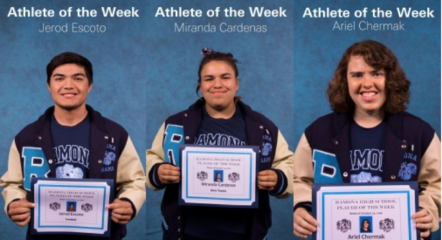 Your November 3 Athletes of the Week!