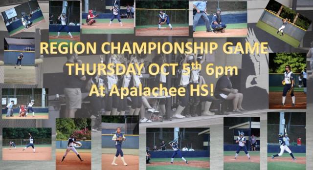 Softball Region Championship Thursday Oct 5th 6pm @ Apalachee HS
