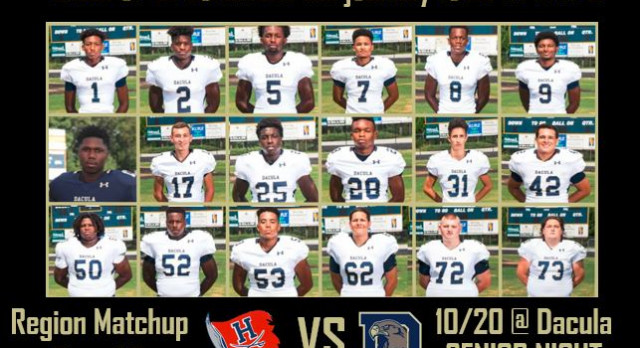 See you at home at our SENIOR NIGHT football game this Friday 10/20 against Habersham Central!