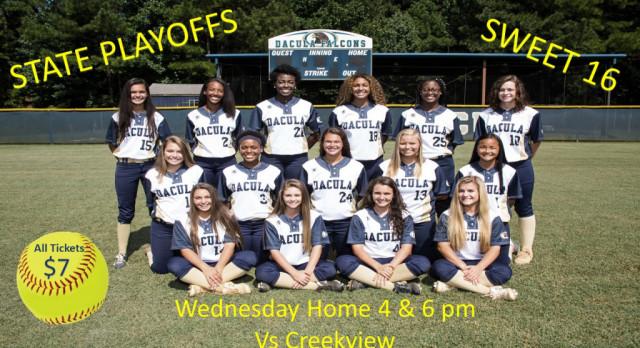 2nd Round State Softball Playoffs Sweet 16 Wednesday Home 4pm & 6pm