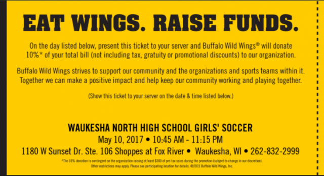 Girls Soccer Fundraiser at BWW