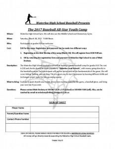 Waterloo Baseball Youth Camp 2017