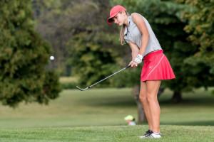 Karissa Owens focuses after hitting her chip shot.