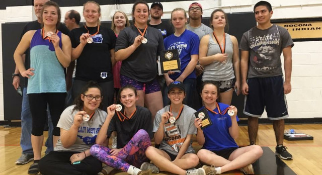 Lady Mustang Powerlifting capture 1st Place