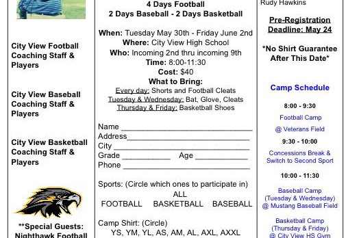 City View Sports Camp Starts on Tuesday and Runs through Friday.