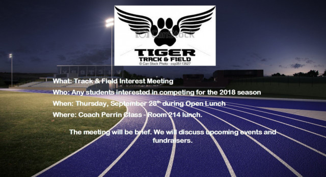 Track & Field Interest Meeting on Thursday