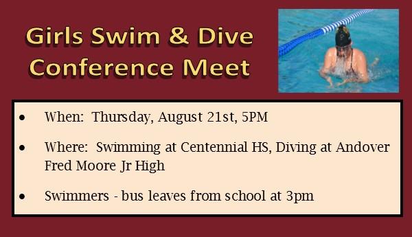 Girls Swim & Dive Meet August 21st