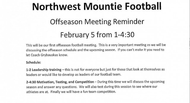 NW Football Offseason Meeting Reminder