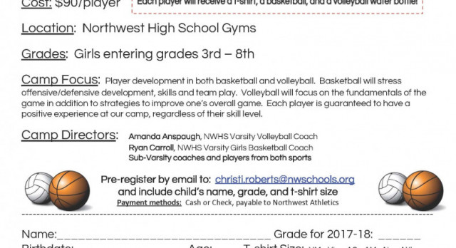 Girls' Basketball / Volleyball Dual Sport Youth Camp