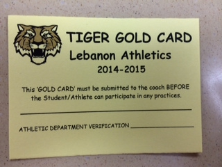 REMINDER FALL ATHLETES NEED GOLD CARD IN HAND TO SHOW COACH BEFORE 1st DAY OF OFFICIAL PRACTICE.