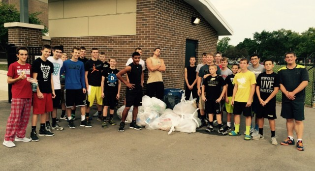 Great job By Men's Basketball Program supporting Cleanest City Initiative this Saturday cleaning LHS Stadium