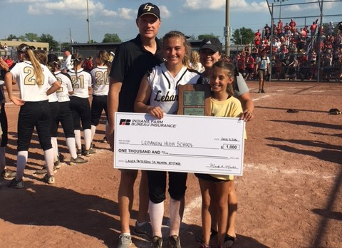 CONGRATULATIONS SOFTBALL  PLAYER LAURA PATTERSON: IHSAA MENTAL ATTITUDE AWARD WINNER