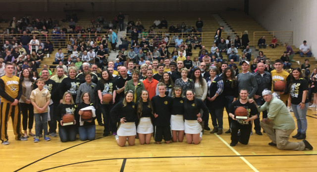 LHS Boys Varsity Basketball Celebrates Victory over Plainfield on Senior night!