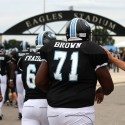 Offensive Guard Omar Brown Walking to the Stadium
