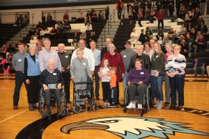 Picture Above: Family members represented the boys from the 1938 State Championship team. We were honored to have Dr. John VandenBerg (only living member of the team) and his wife on hand at the ceremony (seated left).