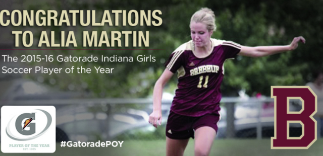 Alia Martin '17 Named 2015-16 Gatorade Indiana Girls Soccer Player of the Year!