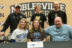 Pictured (L to R): Front Row: Dawn Herron, Brooke Herron, Tony Herron. Back Row: Noblesville Assistant Softball Coach Larry DeSalvo, Noblesville Head Girls Basketball Coach Donna Buckley, Noblesville Head Softball Coach Deke Bullard.